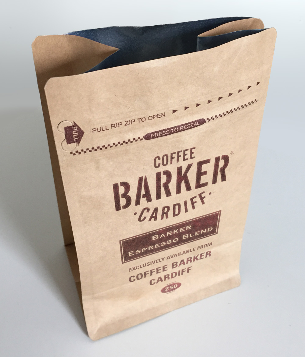 Barker Espresso Blend coffee packaging, for Vintage Tea & Coffee Co.