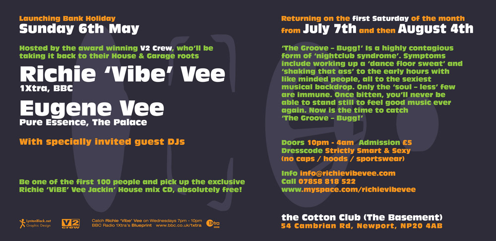 Promotional nightclub flyer design for Groove Bug, for Groove Bug