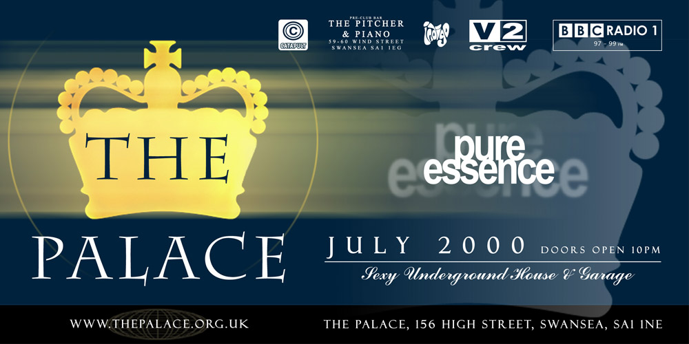 Promotional flyer design for monthly club nights, for Pure Essence