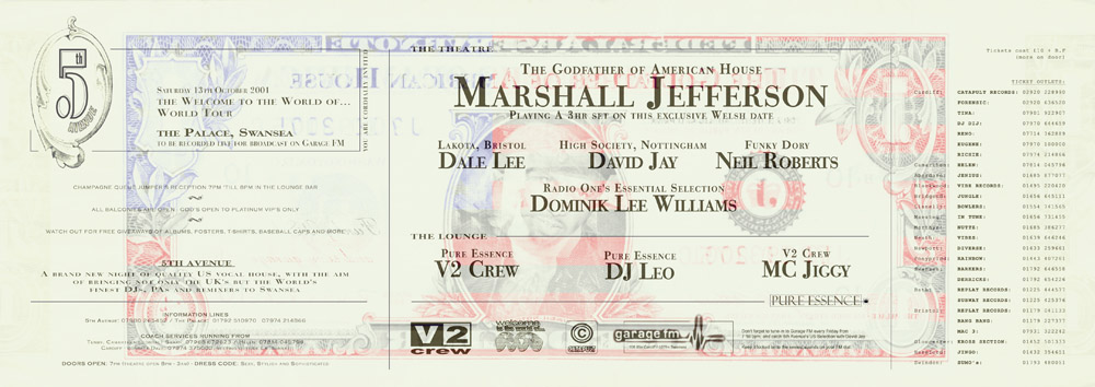 Promotional flyers for US house music nightclub, for Fifth Avenue