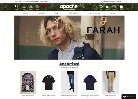 Apache Menswear Website